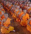 Novitiate group in the Buddhism sits the concentration prays.jpg
