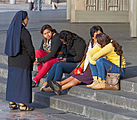 Nun talking to women on steps of new Basilica of Our Lady of Guadulupe.jpg