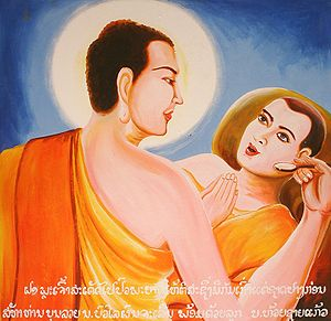 This painting depicts the Buddha taking care o...