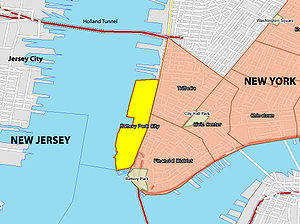 Battery Park City - Location of Battery Park City, marked in yellow on the map