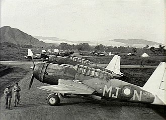 No. 77 Wing RAAF - Vengeance dive bombers of No. 21 Squadron at Nadzab, Papua New Guinea, in February 1944