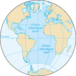 Carte de l'océan Atlantique.