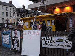 "2011 in Ireland - The entrance to the Occupy Dame Street ""Tent Town"" on 19 December 2011"