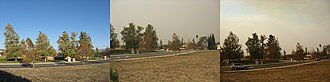 2007 California wildfires - A comparison of the Simi Valley skyline from October 21, 2007 (left and center) to October 22, 2007 (right)