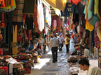Tourism in Israel - Arab market. Old City of Jerusalem