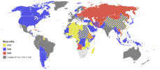 Incomplete map of olympic boycotts, showing 1980 boycotting countries in blue and green