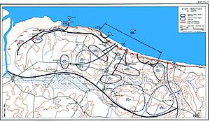 Omaha Beach - Official history map showing the V Corps objectives for D-Day