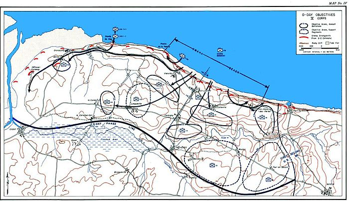 Official history map showing the V Corps objectives for D-Day Omaha Beach 1944 Objectives.jpg