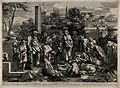 One of the seven Acts of Mercy; Bury the dead. Line engravin Wellcome V0015269.jpg