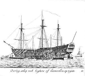 Ship camel - Image: Oorlogsschip in Scheepskamelen Gerard Groenewegen
