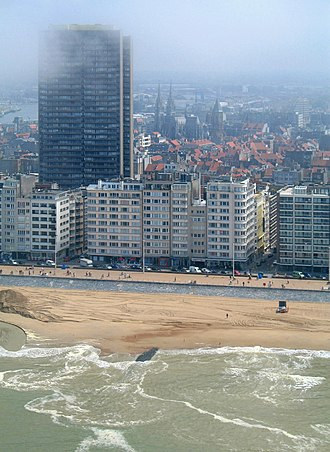 Ostend - Beach, seafront and Europacenter building
