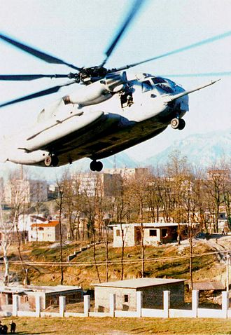 Operation Silver Wake - A CH-53E Super Stallion lands at the evacuation site inside the compound at the US Embassy in Tirana, Albania