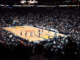 De Oracle Arena tijdens een wedstrijd tussen de Sacramento Kings en de Golden State Warriors in december 2006.
