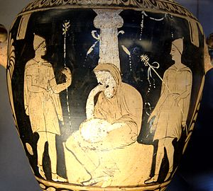 Orestes - Orestes, Elektra, and Pylades at the tomb of Agamemnon - Campanian red-figure hydria, c. 330 BC