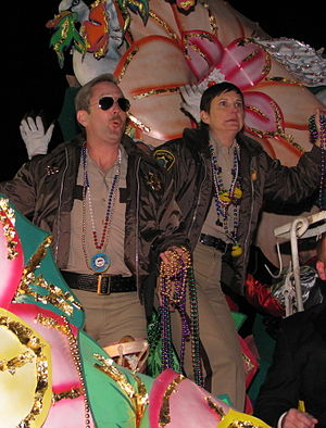 Kerri Kenney-Silver - Kenney-Silver in character with Reno 911! co-star Thomas Lennon at Mardi Gras, 2009