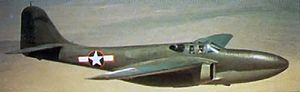 Air Force Test Center - P-59A Airacomet with the short-lived red outlined National markings (June–September 1943).