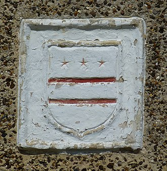 Flag of Washington, D.C. - Washington family coat of arms above entrance at Sulgrave Manor, Northamptonshire, England, built by Robert Washington in 1540s