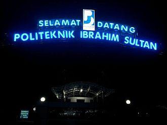 Ibrahim Sultan Polytechnic - Night scene of PIS gate that still use the original logo of Politeknik Johor Bahru (PJB)