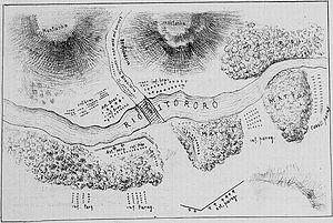 Battle of Ytororó - A hand-painting map of battle of Ytororó