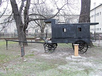 Prisoner transport vehicle - 19th century Russian kibitka wagon used for transporting political prisoners