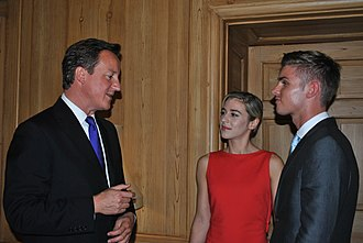 Kieron Richardson - Kieron Richardson with David Cameron and Victoria Atkin, at 10 Downing Street to launch new campaign to kick homophobia and transphobia out of sport