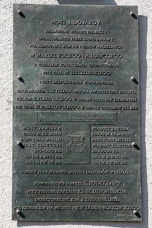 K. Rudzki i S-ka - Commemorative plaque at Poniatowski Bridge in Warsaw, listing K. Rudzki i S-ka as the contractor