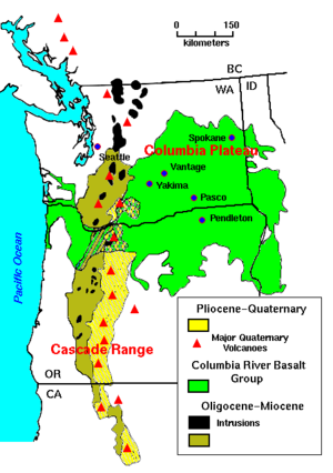 Columbia Plateau - The Columbia Plateau covers much of the Columbia River Basalt Group, shown in green on this map. The Washington cities of Spokane, Yakima and Pasco, and the Oregon city of Pendleton, lie on the Columbia Plateau.