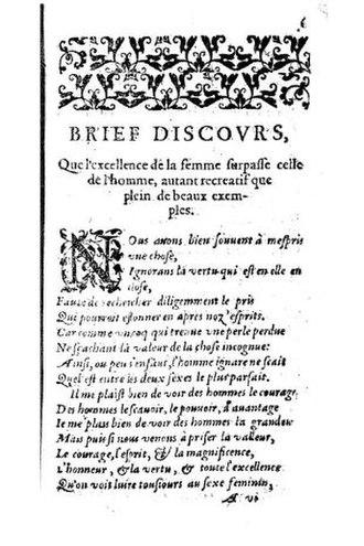 """Marie de Romieu - Page of """"Les Prémières Oeuvres Poétiques"""" containing the beginning of Marie de Romieu's """"Brief dicsourse""""."""