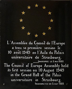 Council of Europe - Plaque commemorating the first session of the Council of Europe Assembly at Strasbourg University