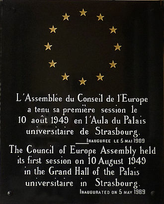 European institutions in Strasbourg - Plaque commemorating the first session of the Council of Europe Assembly in the grand aula of Strasbourg University