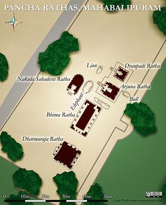Pancha Rathas - Layout plan of the rathas