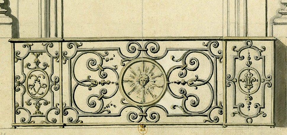 Paris détail d'un balcon de la place Vendôme 1718