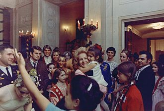 Pat Nixon - Pat Nixon greets young White House visitors, 1969