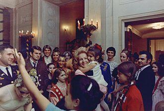 Pat Nixon - Pat Nixon greets young White House visitors, 1969