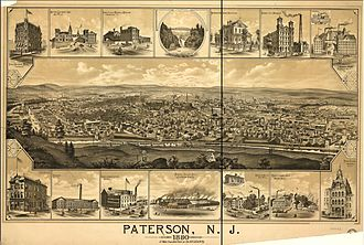 Paterson, New Jersey - A view of Paterson circa 1880.