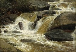 Paul Weber: Gebirgsbach mit kleinem Wasserfall