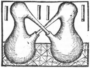 """Hieronymus Brunschwig - Liber de arte dist. de simpl. 1500. """"Distillation"""" by circulation."""