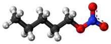 Ball-and-stick model of the pentyl nitrate molecule