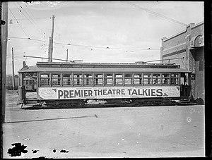 Trams in Perth - Perth tram at East Perth car barn, 1929.