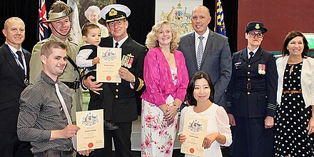 A citizenship ceremony in Australia Peter Dutton at Australian Citizenship Ceremony, 2017.jpg