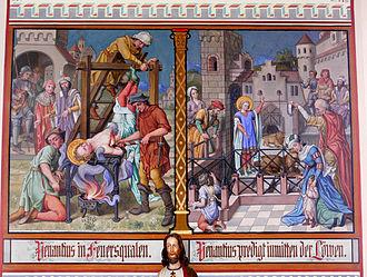 May 18 (Eastern Orthodox liturgics) - Image: Pfärrenbach Wandmalerei Venantiuslegende 1