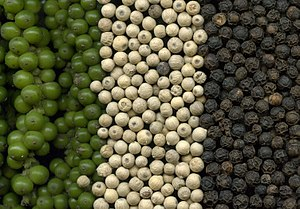 Piper (plant) - Black pepper (Piper nigrum) corns, from left to right: Green (pickled ripe fruits) White (dried ripe seeds) Black (dried unripe fruits)