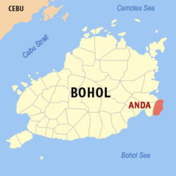 Map of Bohol with Anda highlighted