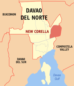 Map of Davao del Norte with New Corella highlighted