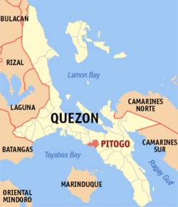 Map of Quezon showing the location of Pitogo
