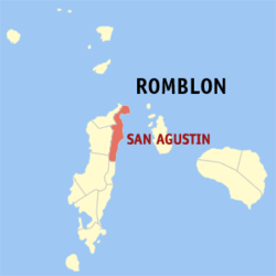 Map of Romblon with San Agustin highlighted