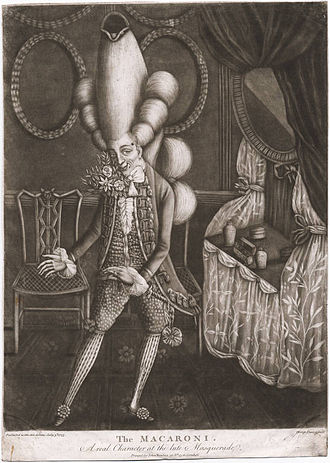"Yankee Doodle - ""The Macaroni. A real Character at the late Masquerade"", mezzotint by Philip Dawe, 1773"