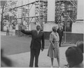 Photograph of President Truman and Mrs. Truman outside the White House, greeting spectators on the occasion of the... - NARA - 199179.tif