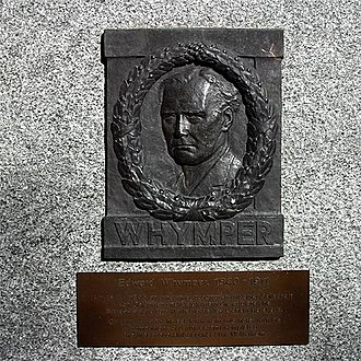 First ascent of the Matterhorn - Plaque in Zermatt, commemorating the first ascent by Edward Whymper:  On 14 July 1865, he set forth from this hotel with his companions and guides, and completed the first successful ascent of the Matterhorn.
