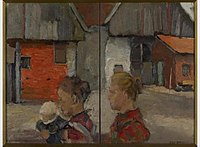 Piet Mondriaan - Rear gables of farm buildings with figures - 1001562 - Kunstmuseum Den Haag.jpg